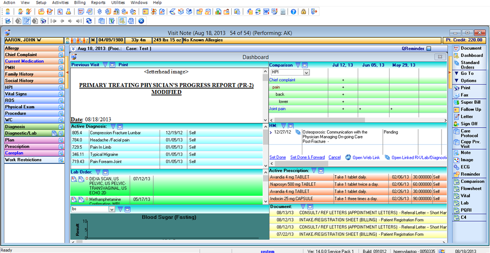 Patient Dashboard in Pain Management EMR