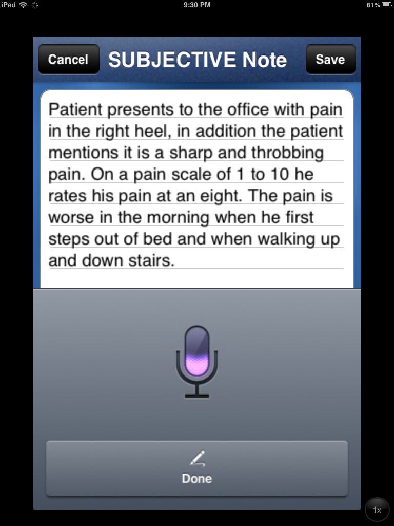Chiropractic EMR for Smartphones, Tablets and PCs Voice Recognition