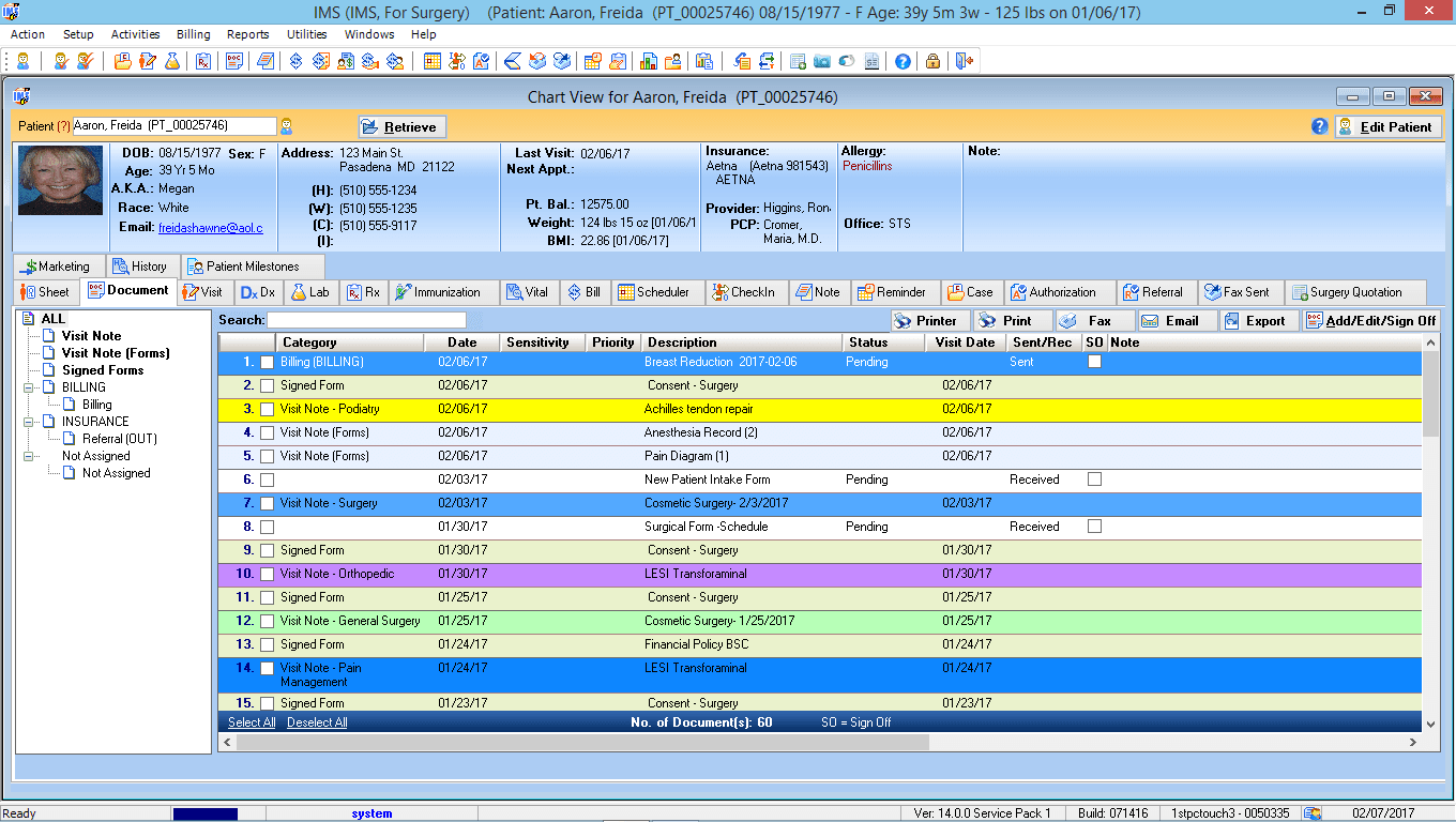 Ambulatory Surgery EMR Software Patient Electronic Health Record