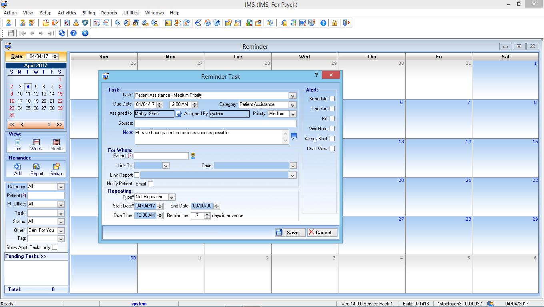 Mental Health EMR Software Alerts and Reminders