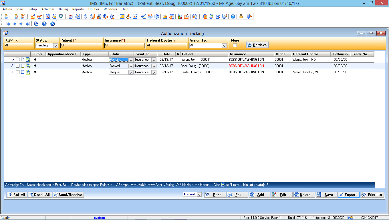 Bariatric Surgery EMR Software Authorization Tracking