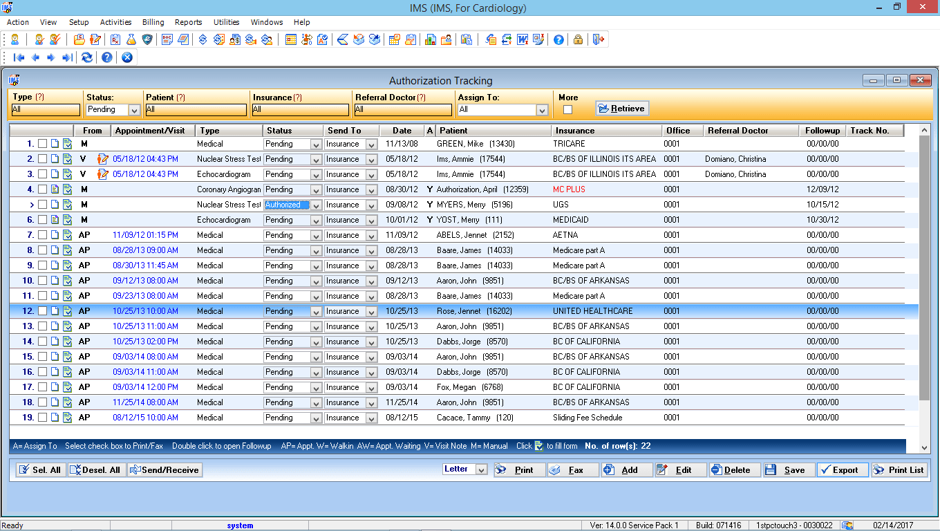 Cardiology EMR Authorization Tracking