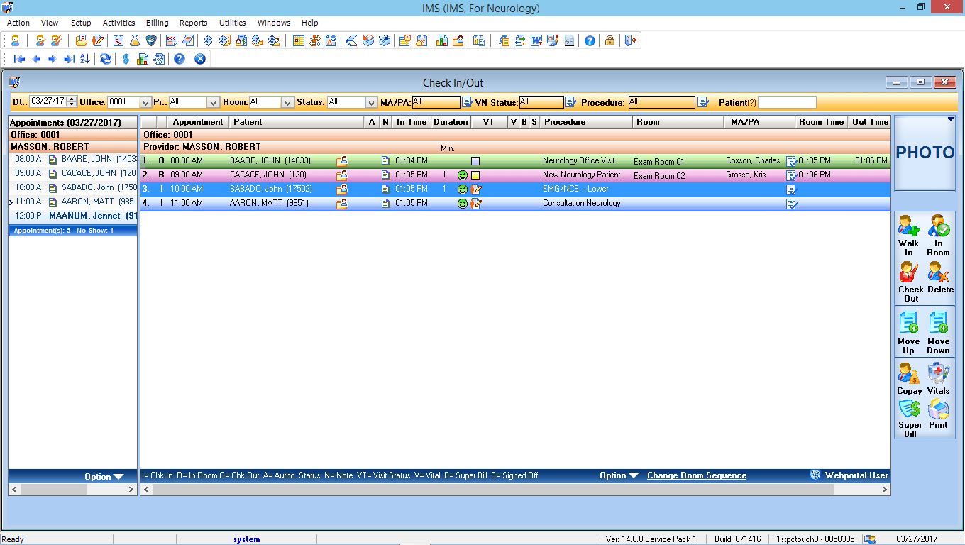 Neurosurgery EMR Software Check-In/Check-Out