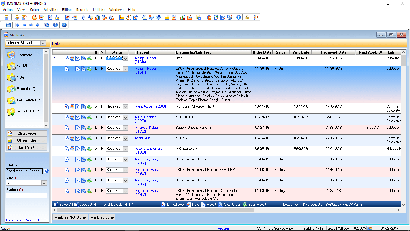Family Medicine EMR Software Doctor Task List