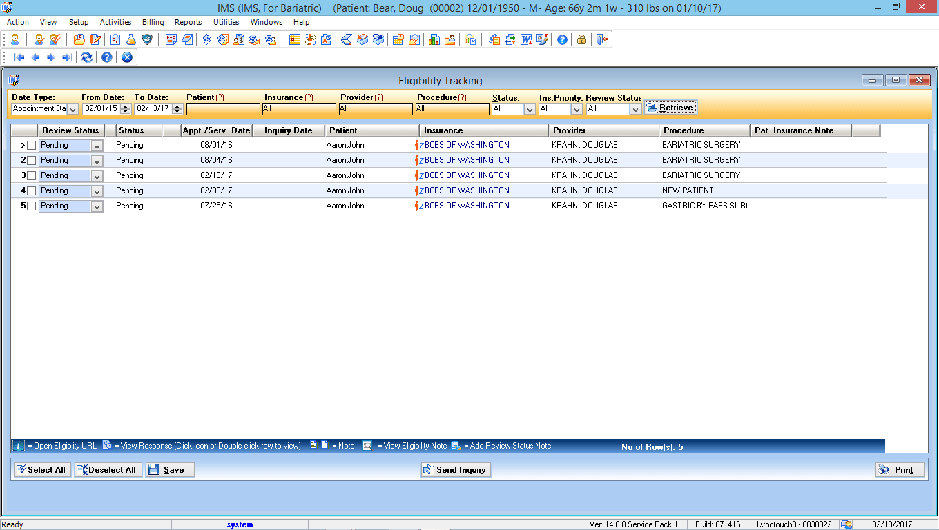 Bariatric Surgery EMR Software Eligibility Tracking