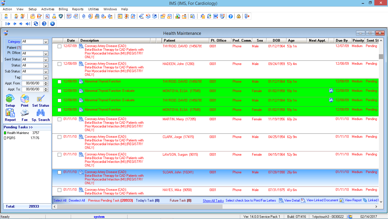 Cardiology EMR Health Maintenance Tracking