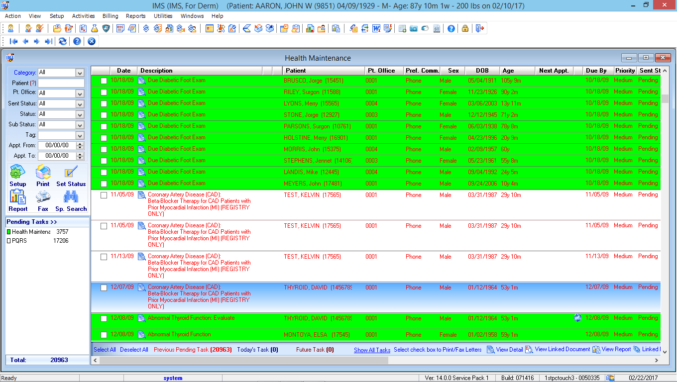 Dermatology EMR Health Maintenance Tracking