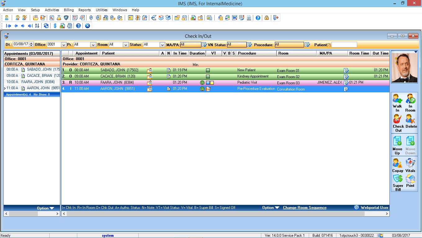 Internal Medicine EMR Software Check-In/Check-Out