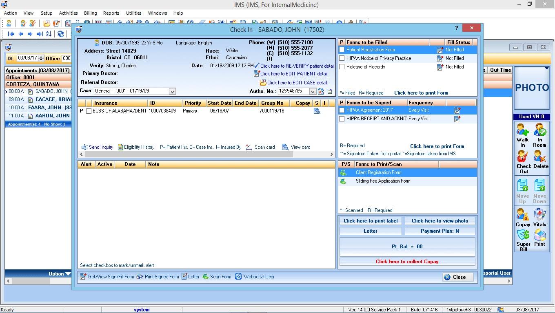 Internal Medicine EMR Software Check-In