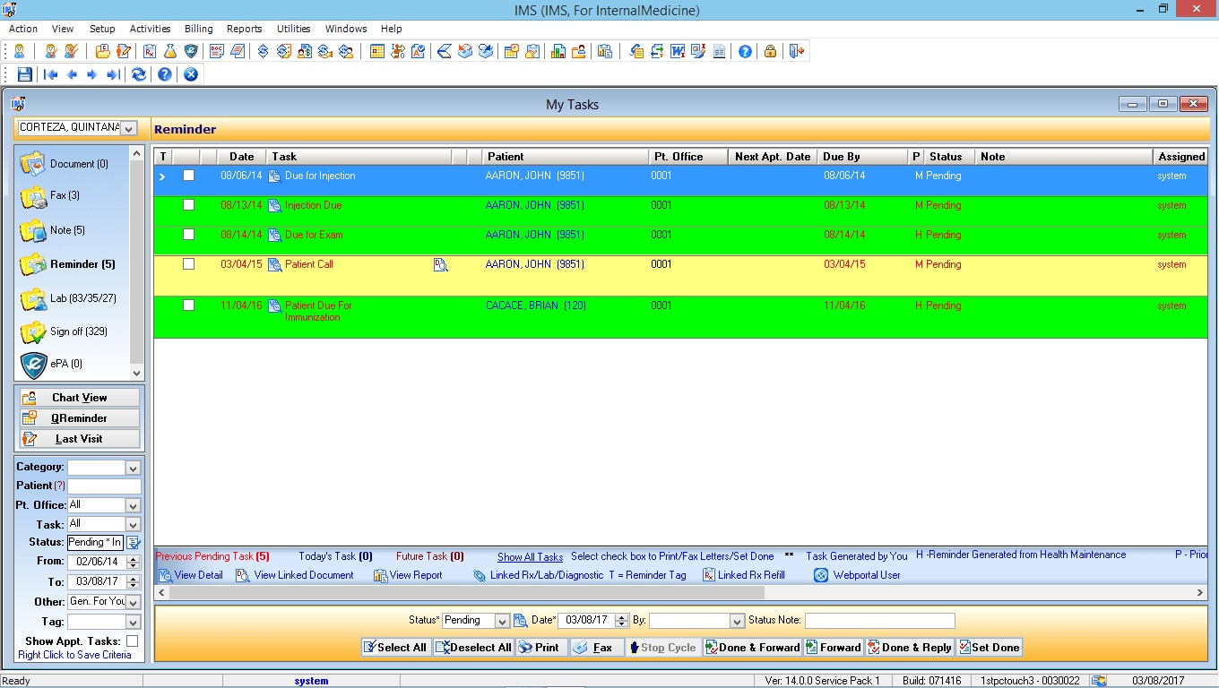 Internal Medicine EMR Software Doctor Task List