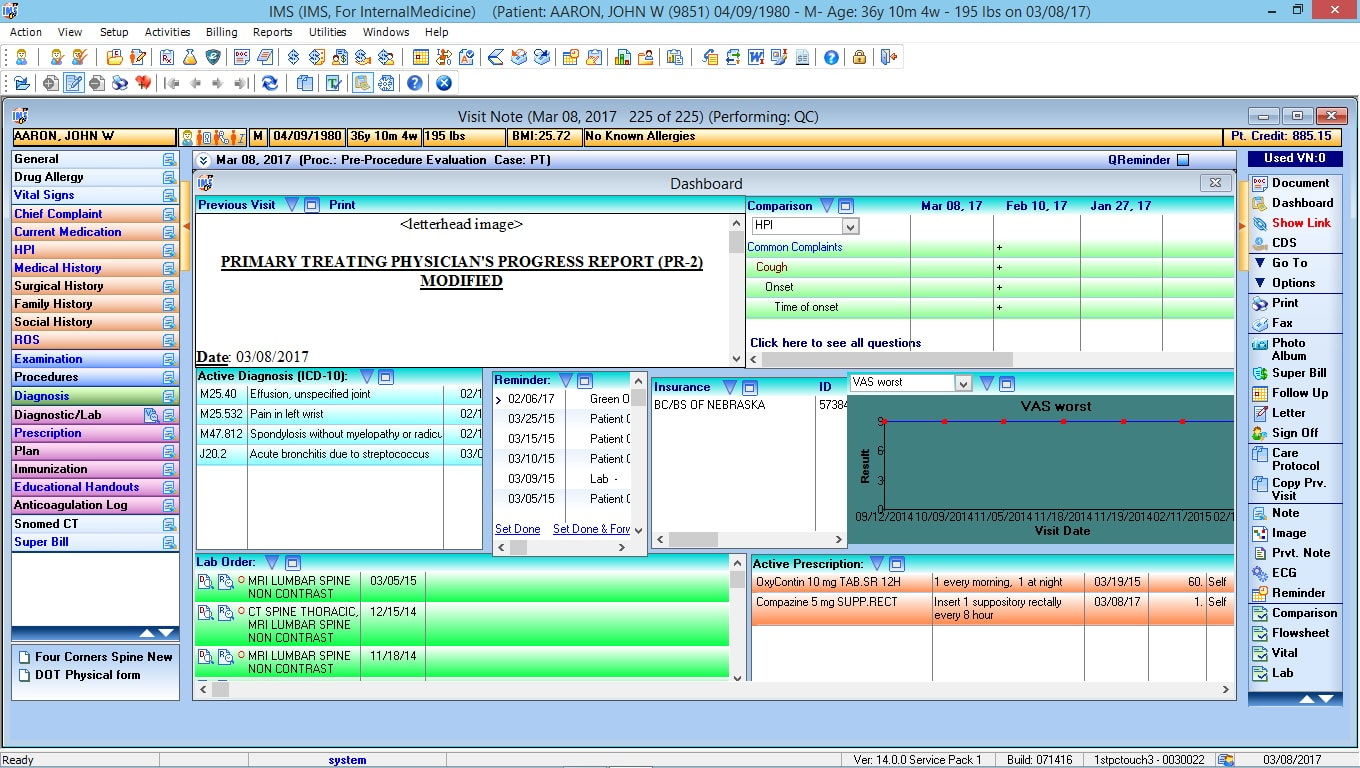 Internal Medicine EMR Software Patient Dashboard