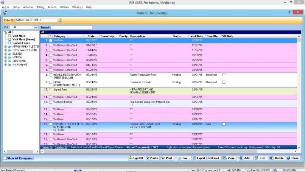 Internal Medicine Patient Documents