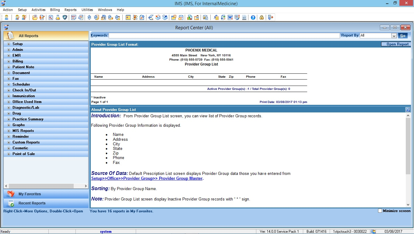 Internal Medicine EMR Software Reports Center