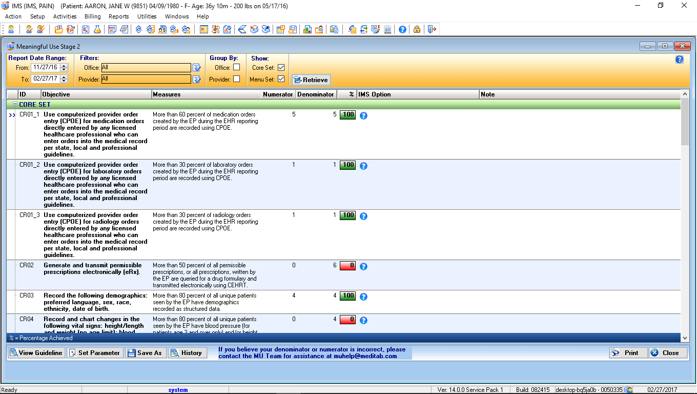 Multi-Speciality Therapy EMR MIPS Dashboard