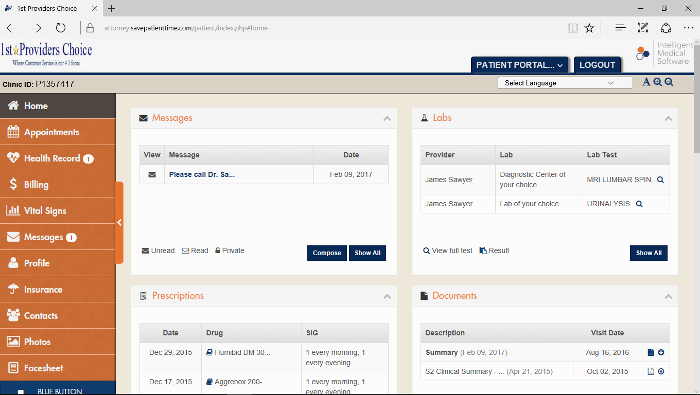 Multi-Speciality Therapy EMR Patient Portal