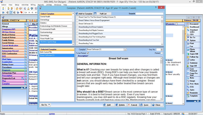 OB/GYN EMR Software Careplan