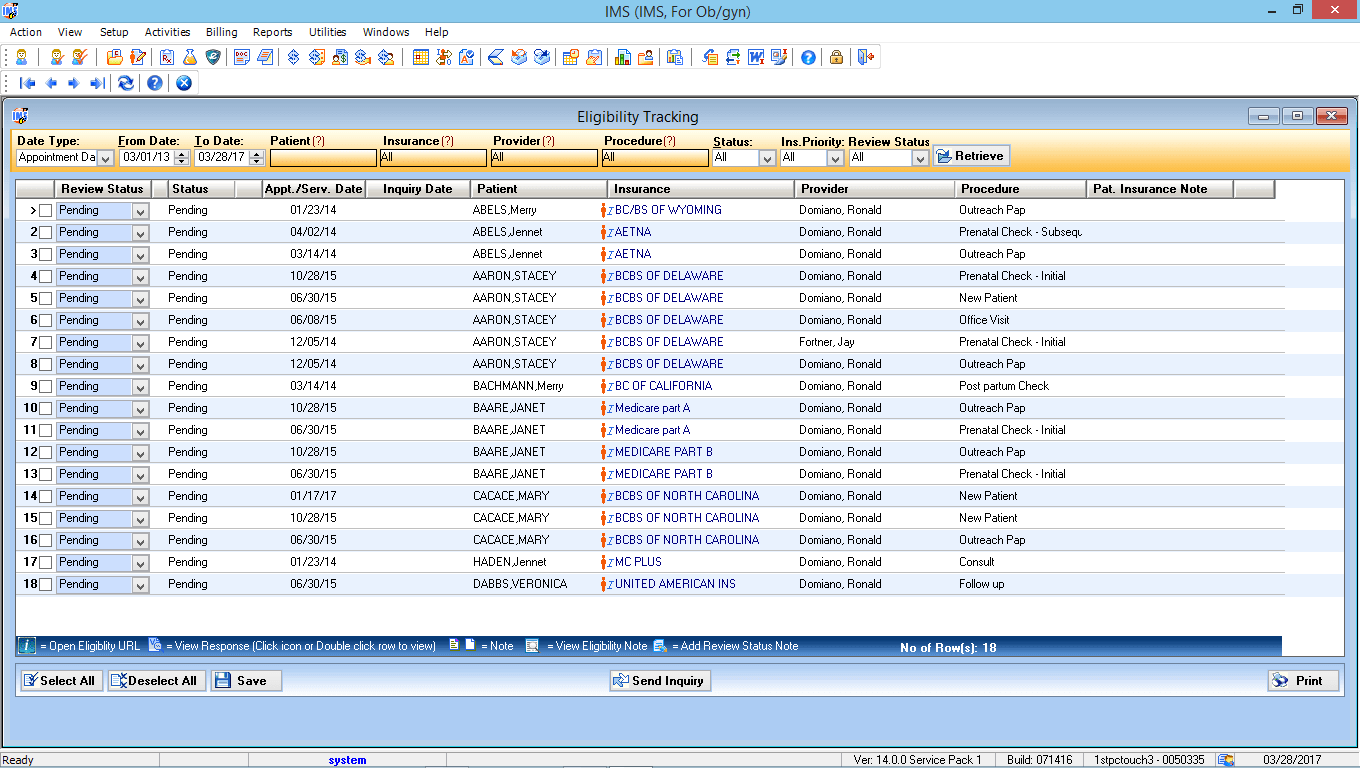OB/GYN EMR Software Eligibility Tracking