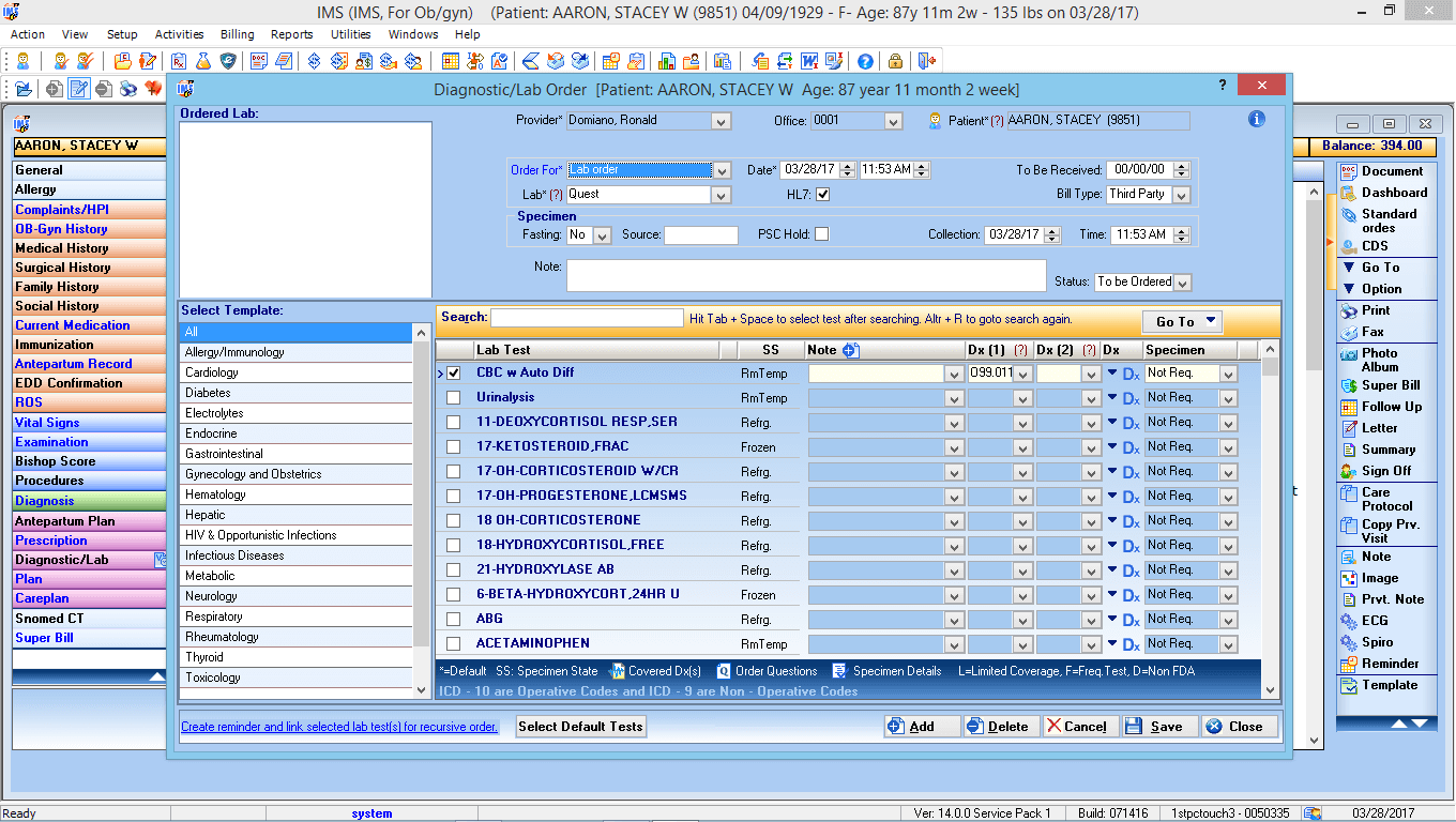 OB/GYN EMR Software Labs and Diagnostic