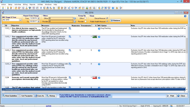 OB/GYN EMR Software MIPS Dashboard