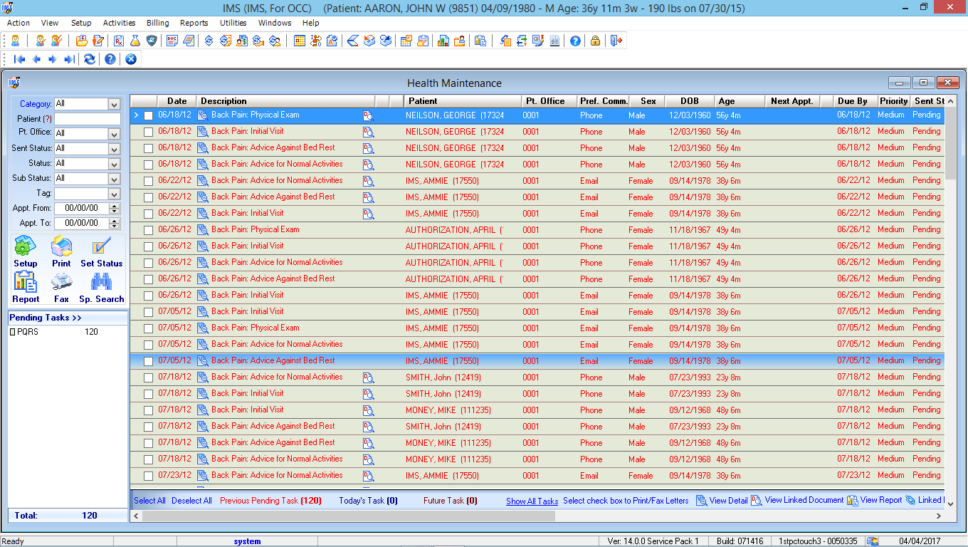 Occupational Medicine EMR Software Health Maintenance Tracking