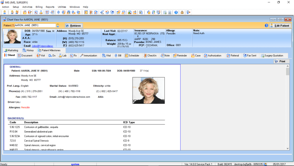 General Surgery Patient Electronic Health Record