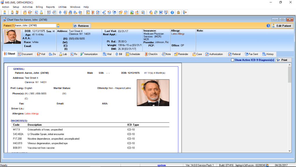 Family Medicine Patient Electronic Health Record