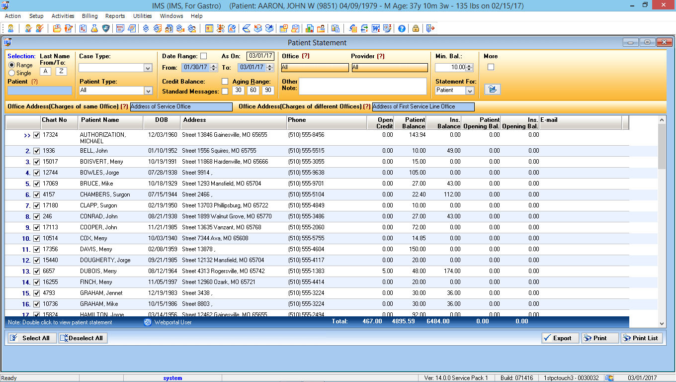Gastrointestinal EMR Software Patient Statement Preview List