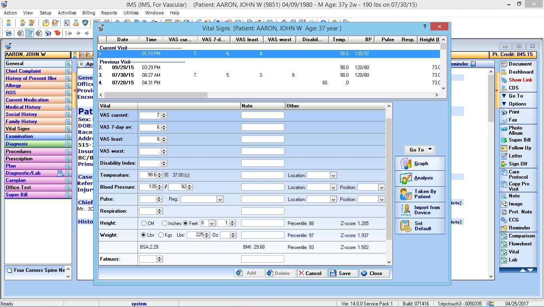 Endovascular EMR Vitals Interface