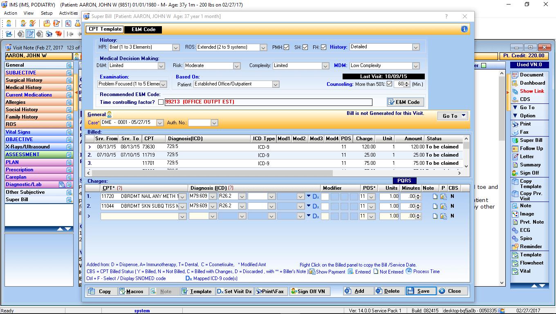 Podiatry EMR CPT Code Advisor
