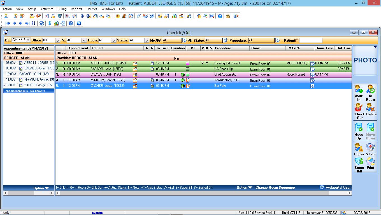 Otorhinolaryngology EMR Software Check-In