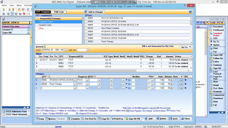 Psychiatry EMR Electronic Super Bill