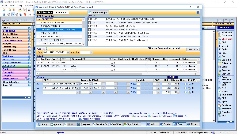 Podiatry EMR Electronic Super Bill