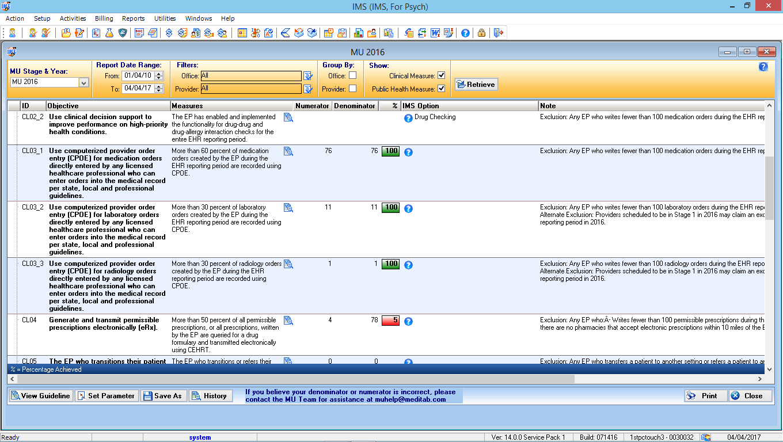 EMR MIPS/MACRA Dashboard