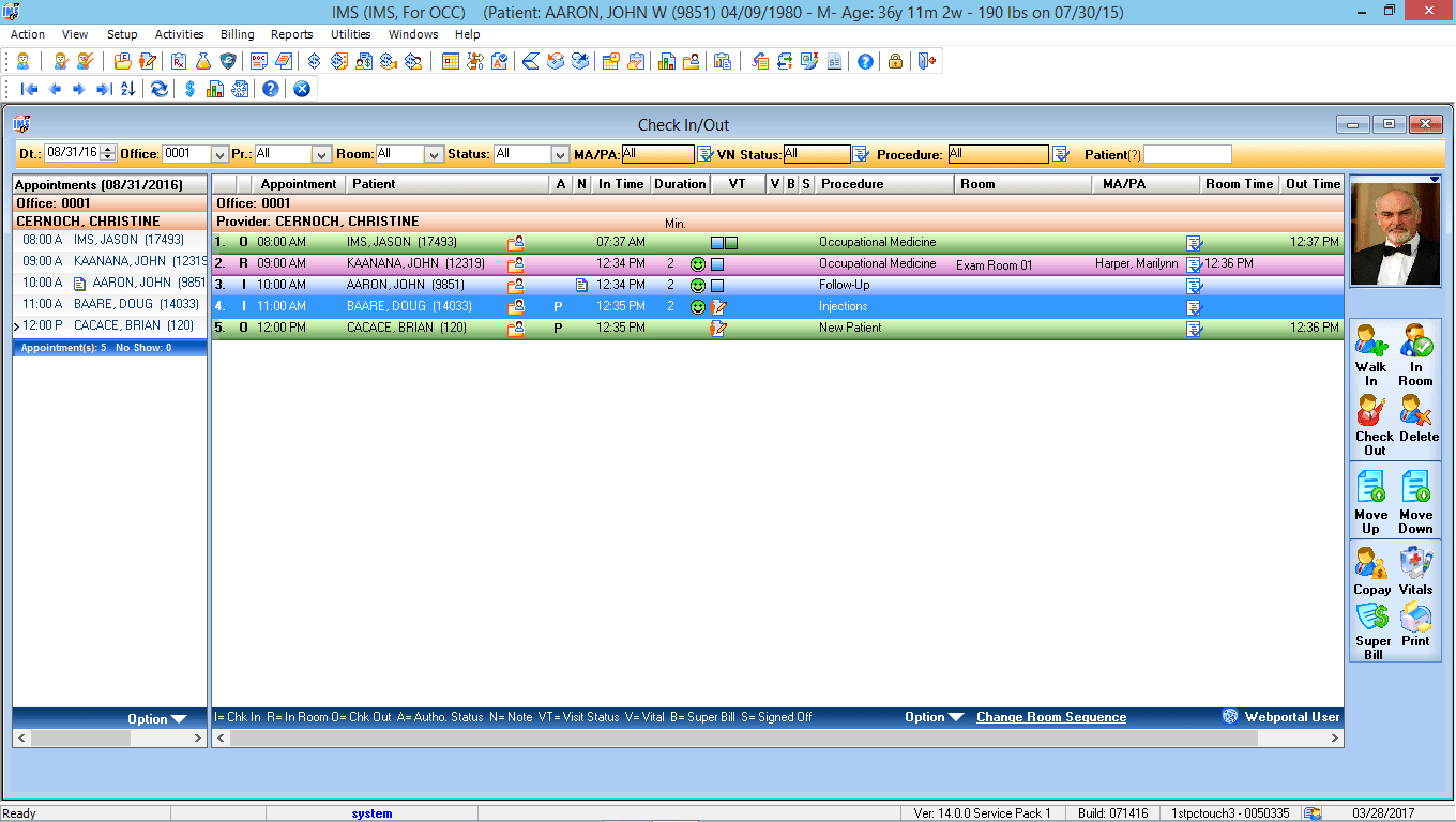 Occupational Medicine EMR Software Check-In/Check-Out
