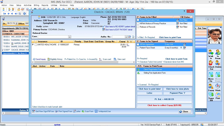 Occupational Medicine EMR Software Check-In