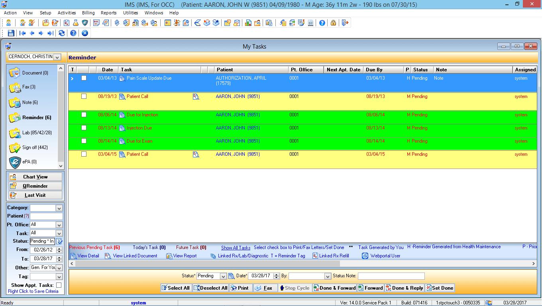 Occupational Medicine EMR Software Doctor Task List