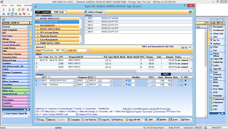 Occupational Medicine EMR Software Electronic Super Bill