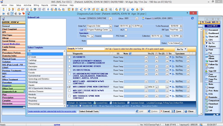 Occupational Medicine EMR Software Labs and Diagnostic