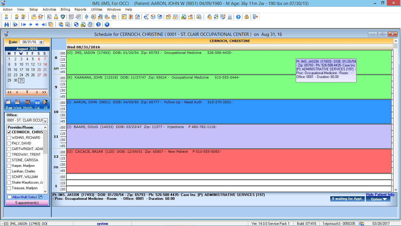 Occupational Medicine EMR Software Patient Appointment Scheduling