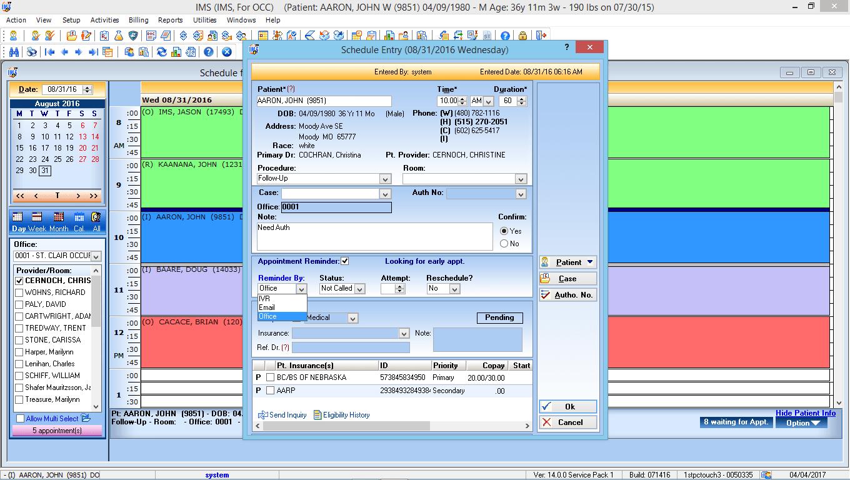 Occupational Medicine EMR Software Patient Phone Reminders