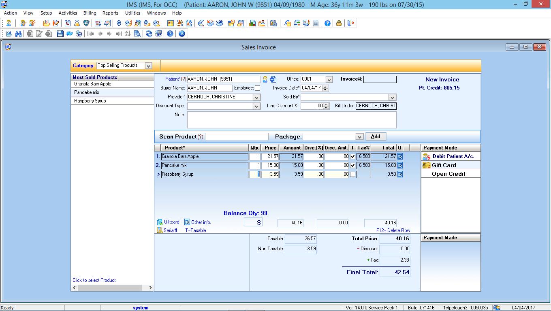 Occupational Medicine EMR Software Point of Sales Module