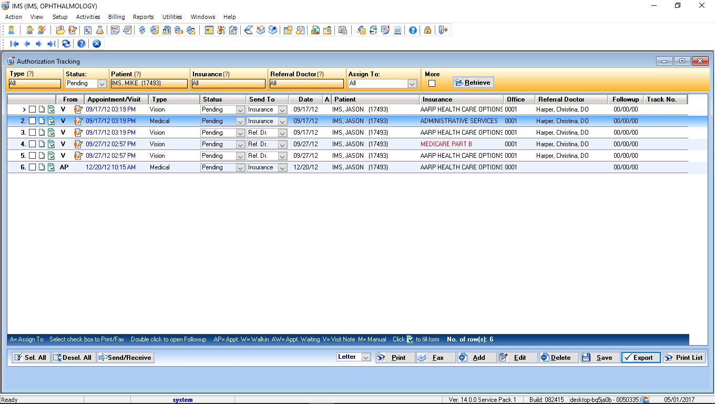 Ophthalmology EMR Software Authorization Tracking