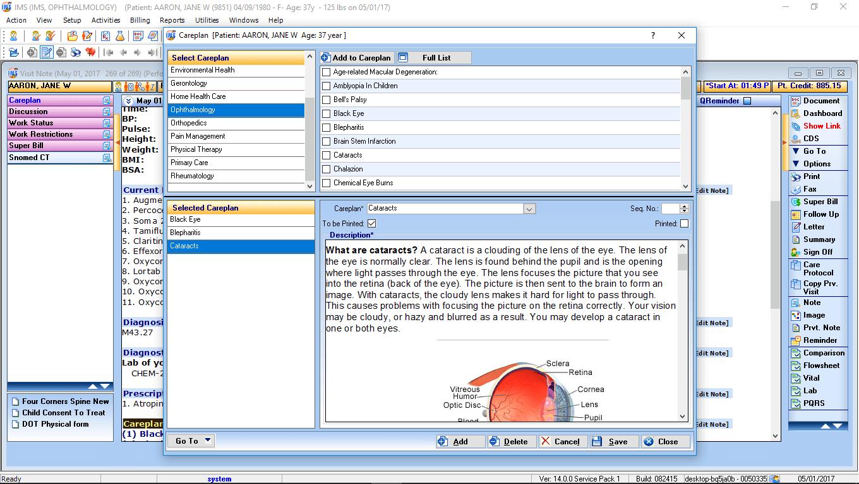Ophthalmology EMR Software Careplan