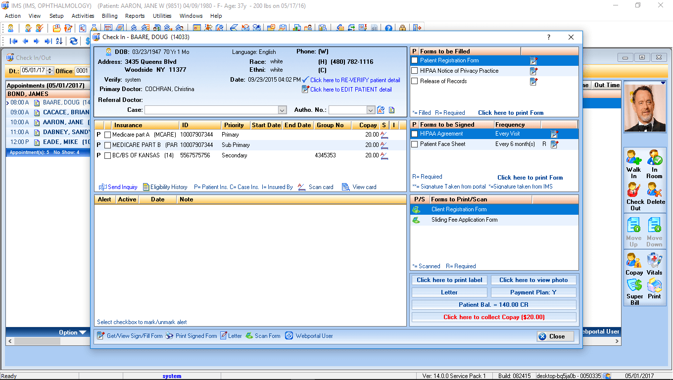 Ophthalmology EMR Software Check-In