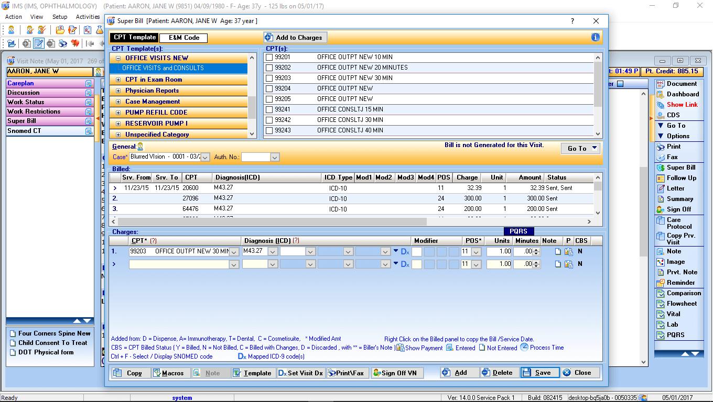 Ophthalmology EMR Software Electronic Super Bill