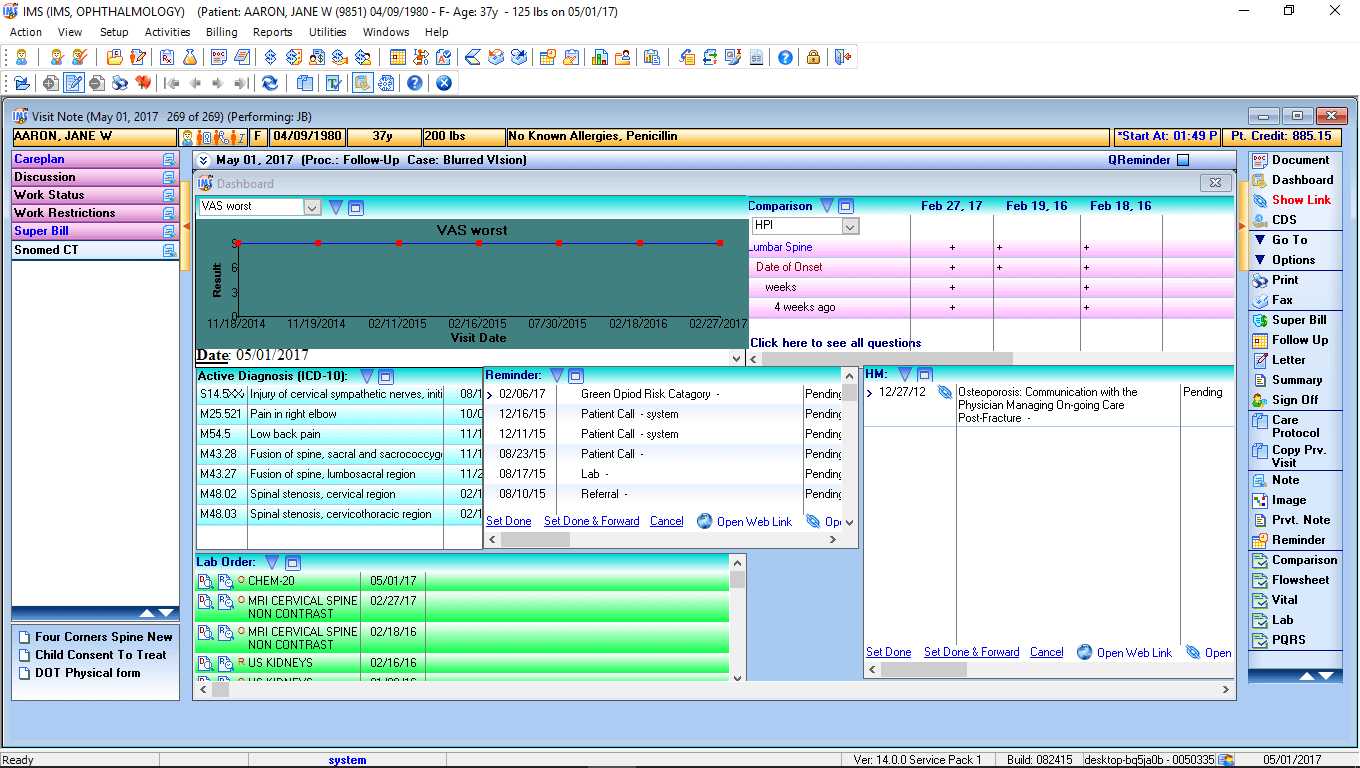 Ophthalmology EMR Software Patient Dashboard