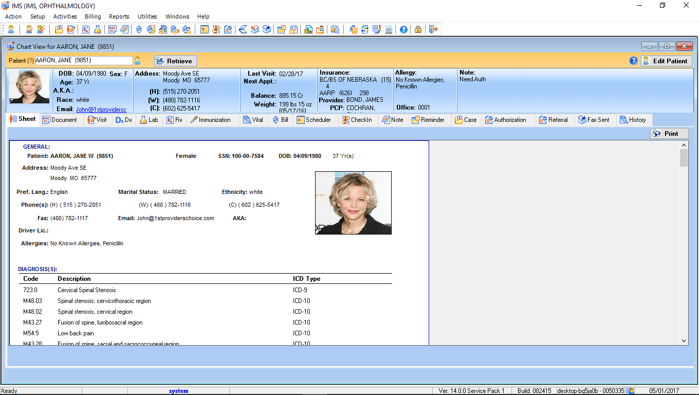 Ophthalmology EMR Software Patient Electronic Health Record
