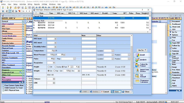 Ophthalmology EMR Software Vitals Interface