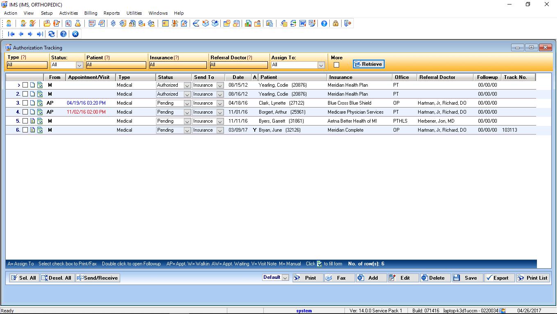 Orthopedic EMR Software Authorization Tracking