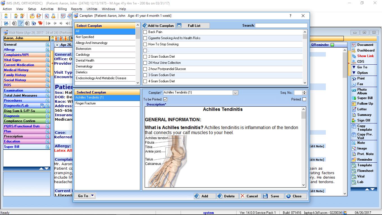 Orthopedic EMR Software Careplan